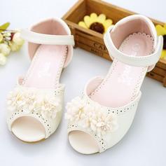 Ragazze Punta aperta Pelle microfibra Heel piatto Sandalo Scarpe Flower Girl con Perline Velcro Fiore Cava-out (207154399)