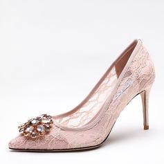 De mujer Malla Tacón stilettos Salón Cerrados con Rhinestone zapatos (085191403)