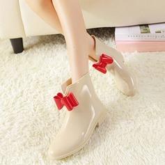 Frauen PVC Niederiger Absatz Stiefel Stiefel-Wadenlang Regenstiefel mit Bowknot Schuhe (088127040)