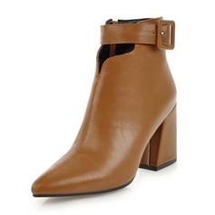 Frauen Kunstleder Stämmiger Absatz Absatzschuhe Stiefel Stiefelette mit Schnalle Schuhe (088190941)