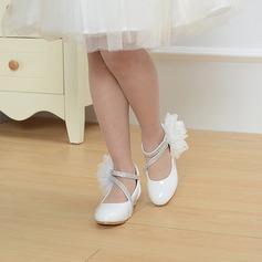 Mädchens Round Toe Geschlossene Zehe Leder niedrige Ferse Blumenmädchen Schuhe mit Nachahmungen von Perlen Satin Schleife Klettverschluss Zuschnüren (207113588)