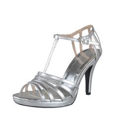 Konstläder Cone Heel Sandaler Plattform Slingbacks med Spänne skor (087028457)