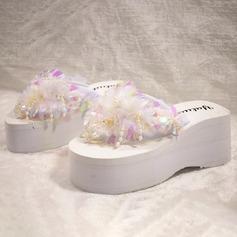 Vrouwen Suede Wedge Heel Pumps Plateau Wedges Peep Toe Flip Flops met Kralen Lovertje Keten schoenen (087122311)