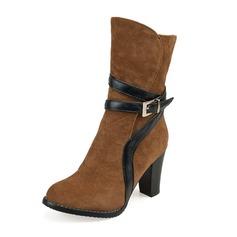 Frauen Veloursleder Stöckel Absatz Absatzschuhe Geschlossene Zehe Stiefel Kniehocher Stiefel Stiefel-Wadenlang mit Schnalle Reißverschluss Schuhe (088170994)