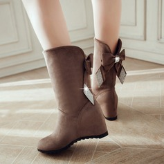 Frauen Wildleder Flascher Absatz Stiefel mit Bowknot Schuhe (088109391)