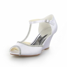 Women's Satin Wedge Heel Peep Toe Sandals Wedges With Rhinestone (047058353)