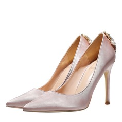 Women's Satin Stiletto Heel Closed Toe Pumps With Crystal (047193144)