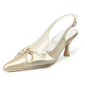 Vrouwen Satijn Spool Hak Closed Toe Pumps Slingbacks met strik Gesp (047005130)
