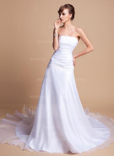 A-Line/Princess Strapless Chapel Train Satin Organza Wedding Dress With Ruffle Lace Beading (002001278)