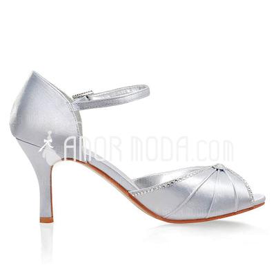 Women's Satin Stiletto Heel Sandals With Buckle Rhinestone (047005113)