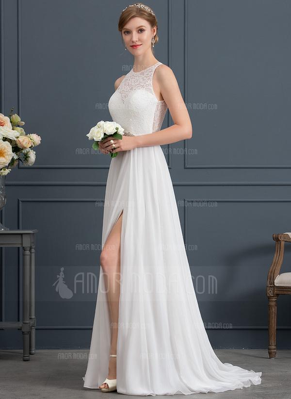 A-Line/Princess Scoop Neck Sweep Train Chiffon Wedding Dress With Beading Split Front (002171941)