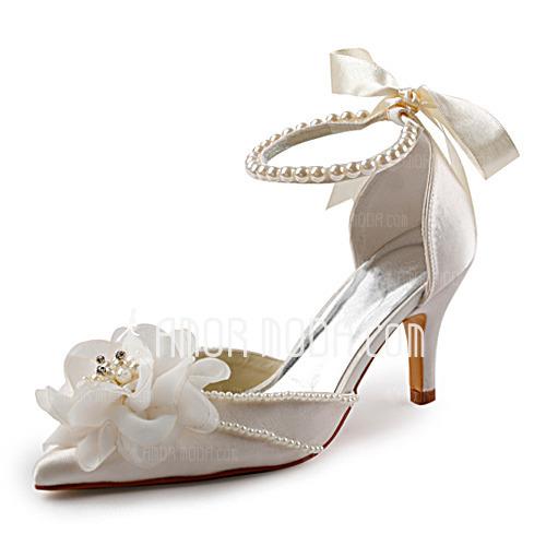 Women's Satin Stiletto Heel Closed Toe Pumps With Imitation Pearl (047005172)