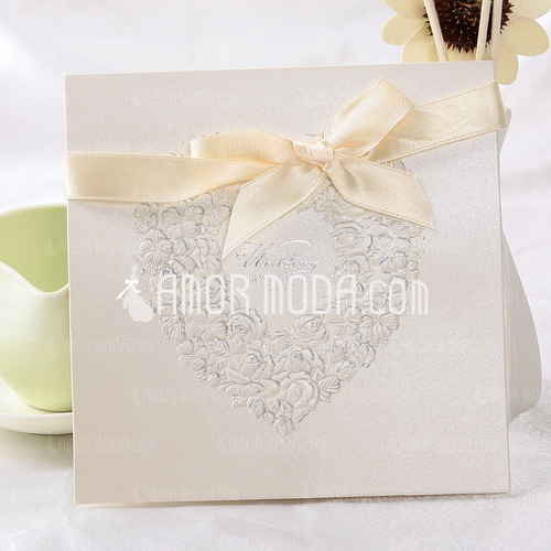 Heart Style Top Fold Invitation Cards With Ribbons (Set of 10) (114032366)