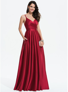 A-Line V-neck Floor-Length Satin Wedding Dress With Ruffle Pockets (002207423)