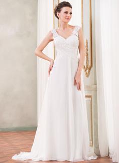 Vestidos princesa/ Formato A Decote V Sweep/Brush trem Tecido de seda Vestido de noiva com Renda Beading lantejoulas (002042294)
