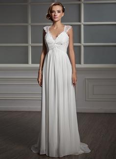 Empire V-neck Sweep Train Chiffon Tulle Wedding Dress With Ruffle Lace Beading (002006371)