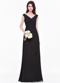 A-Line/Princess V-neck Floor-Length Chiffon Bridesmaid Dress With Ruffle (007068151)