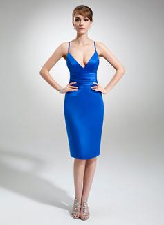 Платье-чехол V-образный Длина до колен Атлас Коктейльные Платье (016022558)