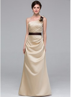 A-Line/Princess One-Shoulder Floor-Length Satin Bridesmaid Dress With Sash Flower(s) (007037241)