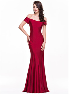 Trumpet/Mermaid Off-the-Shoulder Floor-Length Jersey Evening Dress (017065553)