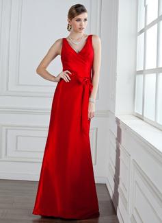 Trompete/Sereia Decote V Longos Tafetá Vestido de madrinha com Pregueado Curvado (007004161)