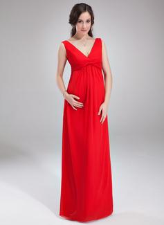 С завышенной талией V-образный Длина до пола шифон Свадебные Платье Для Беременных Невест с Рябь (045004386)