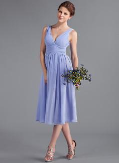 A-Line/Princess V-neck Tea-Length Chiffon Bridesmaid Dress With Ruffle (018026262)
