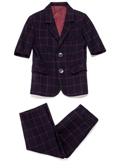 Boys 2 Pieces Plaid Ring Bearer Suits /Page Boy Suits With Jacket Pants (287199771)