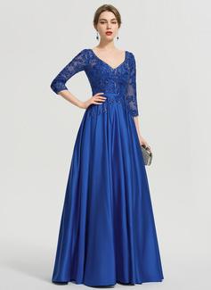 Платье для Балла/Принцесса V-образный Длина до пола Атлас Платье Для Выпускного Вечера с блестки (018192897)