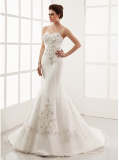 Trumpet/Mermaid Sweetheart Chapel Train Satin Organza Wedding Dress With Embroidered Beading (002000554)