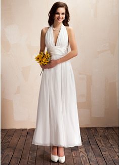 A-Line/Princess Halter Ankle-Length Chiffon Wedding Dress With Ruffle Bow(s) (002012645)