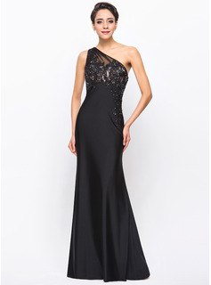 Trumpet/Mermaid One-Shoulder Floor-Length Jersey Evening Dress With Beading Appliques Lace (017056114)