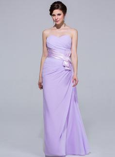 Платье-чехол возлюбленная Длина до пола шифон Платье Подружки Невесты с Рябь (007037302)