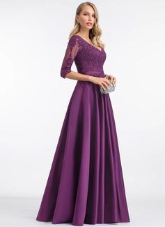 A-Line V-neck Floor-Length Satin Evening Dress With Sequins (017198657)