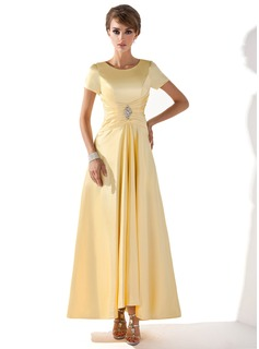A-Line Scoop Neck Asymmetrical Charmeuse Mother of the Bride Dress With Ruffle Beading (008005699)