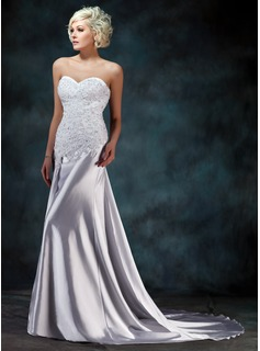 Trumpet/Mermaid Sweetheart Watteau Train Charmeuse Wedding Dress With Lace Beading (002000157)