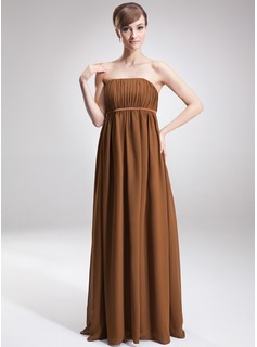 Empire Strapless Floor-Length Chiffon Maternity Bridesmaid Dress With Ruffle (045004381)