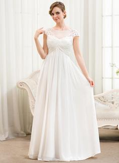 Corte A Ilusão Longos Tecido de seda Vestido de noiva com Pregueado Apliques de Renda (002052777)