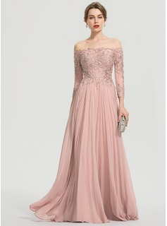 A-Line Off-the-Shoulder Floor-Length Chiffon Prom Dresses With Sequins Pleated (018192898)