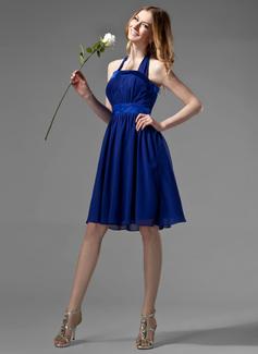 Empire Halter Knee-Length Chiffon Bridesmaid Dress With Ruffle Bow(s) (007000869)
