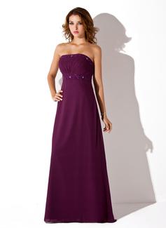 Empire Strapless Floor-Length Chiffon Bridesmaid Dress With Ruffle Beading (007001776)
