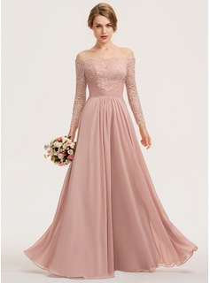 A-Line Off-the-Shoulder Floor-Length Chiffon Lace Bridesmaid Dress With Ruffle (007190711)