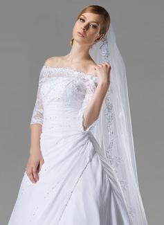 Uma camada Borda com aplicação de renda Catedral véus de noivas com Aplicação/Lantejoulas (006004053)