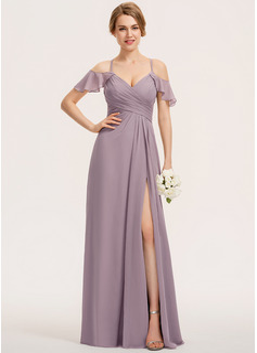 A-Line V-neck Floor-Length Chiffon Bridesmaid Dress With Split Front Cascading Ruffles (007190714)