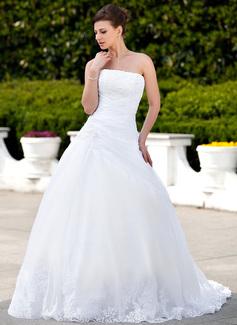 Платье для Балла Без лямок Церковный шлейф Атлас Органза Свадебные Платье с Кружева развальцовка (002000135)