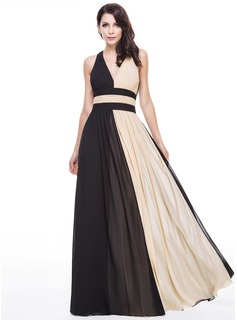 A-Line/Princess V-neck Floor-Length Chiffon Evening Dress With Ruffle (017056130)