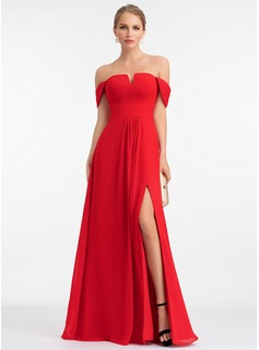 A-Line Off-the-Shoulder Floor-Length Chiffon Evening Dress With Split Front (017198655)