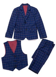Boys 3 Pieces Plaid Ring Bearer Suits /Page Boy Suits With Jacket Vest Pants (287199775)
