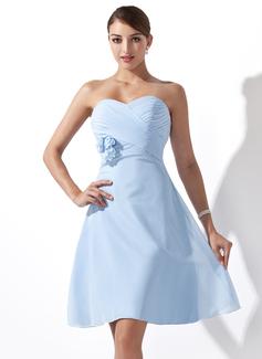 Empire Sweetheart Knee-Length Chiffon Bridesmaid Dress With Ruffle Flower(s) (007000932)