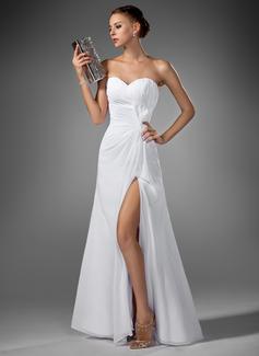 Corte A Amada Longos Tecido de seda Vestido de festa com Pregueado Frente aberta (017022520)